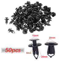 50pcs/set 8mm Car Fixed Rivet Retainer Plastic Rivets Fastener Push Clips Auto Bumper Fender Fastener Retainer Clips for Ford