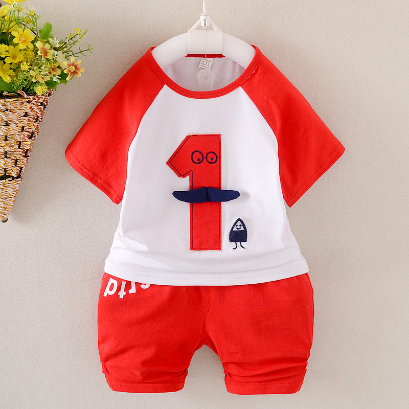 2017 Summer Baby Girls Boys Clothes Sets No 1 Infant Cotton Casual Style Suits Short Sleeve T Shirt+Shorts Kids Children Suits