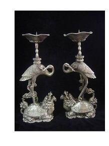 A pair of chinese Tibet Silver candlestick carved turtle crane Garden Statue decoration bronze factory outlets