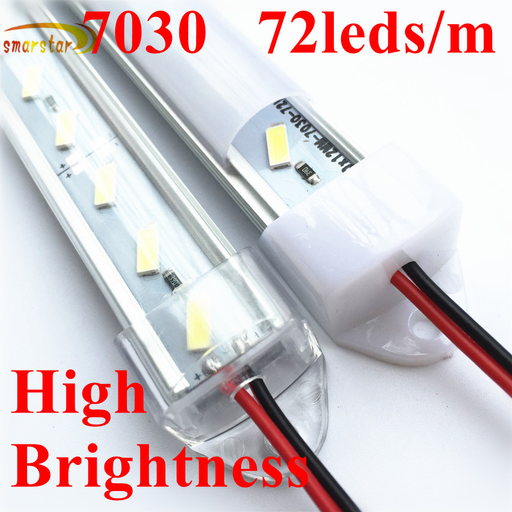 0.5M 36leds 7030 <font><b>Led</b></font> Hard Strip <font><b>Bar</b></font> Lights U Shaped Aluminum Groove Shell Milk Clear Cover DC <font><b>12</b></font> <font><b>V</b></font> 50cm 11Watts <font><b>LED</b></font> <font><b>Bar</b></font> Light image
