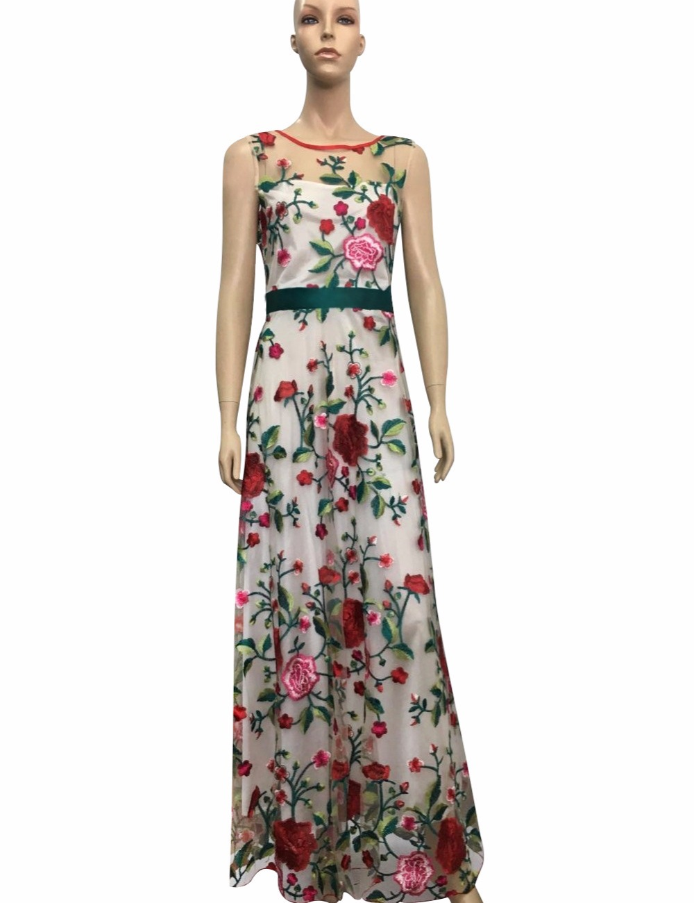 2018 nouvelle femme populaire sans manches robe broderie impression robe
