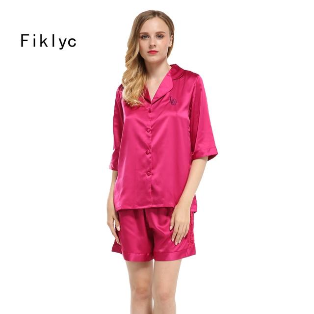 6666709c6482d Fiklyc marque jeune fille moitié manches dentelle faux pyjamas en soie  pantalon court d été