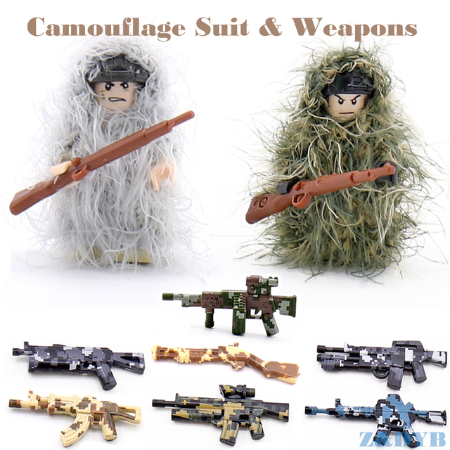 US $1 19 |DIY Camouflage Suit EOD Gas Mask Body Armor Compatible Legode  Figures Military Weapon Gun Soldier Army Building Brick Block Toys-in  Blocks