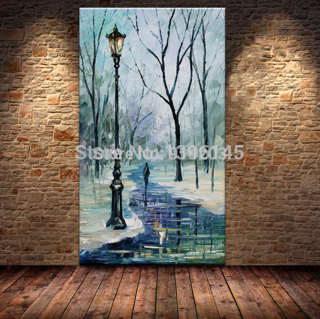 Free Shipping 100% Hand Painted Winter River Landscape Oil Palette Knife Painting Wall Art For Home Decoration no Framed