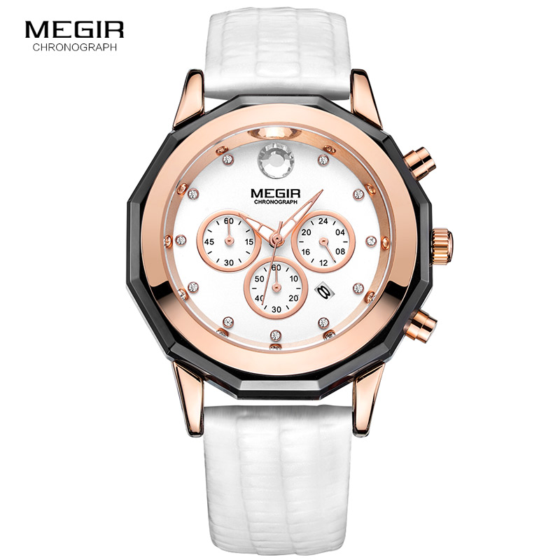 Megir Women's Elegant Quartz Stop Watches Fashion Waterproof Luminous Chronograph 24 hour Wristwatch for Woman Lady 2042LREWE|Women's Watches| - AliExpress