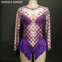 Фиолетовый кисточкой для женщин пикантные этап DJ комбинация полный сверкающие кристаллы костюмы праздновать ночной вечерние клуб певица т