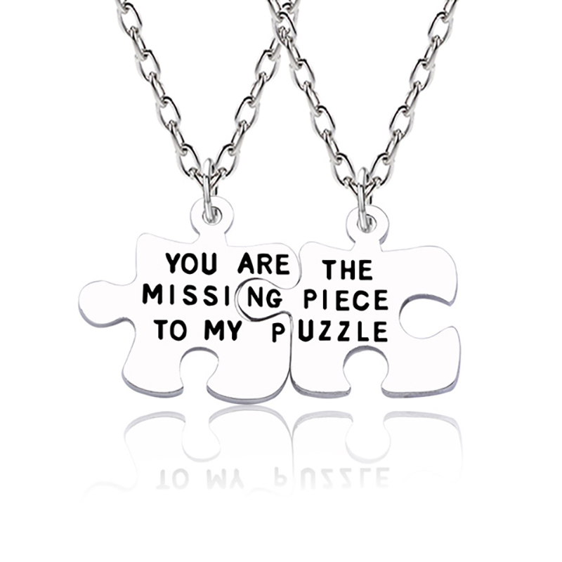 2Pcs Fashion Best Friend Forever Necklace You Are My Puzzle Missing Irregular Geometric Pendant Men And Women Couple Jewelry image