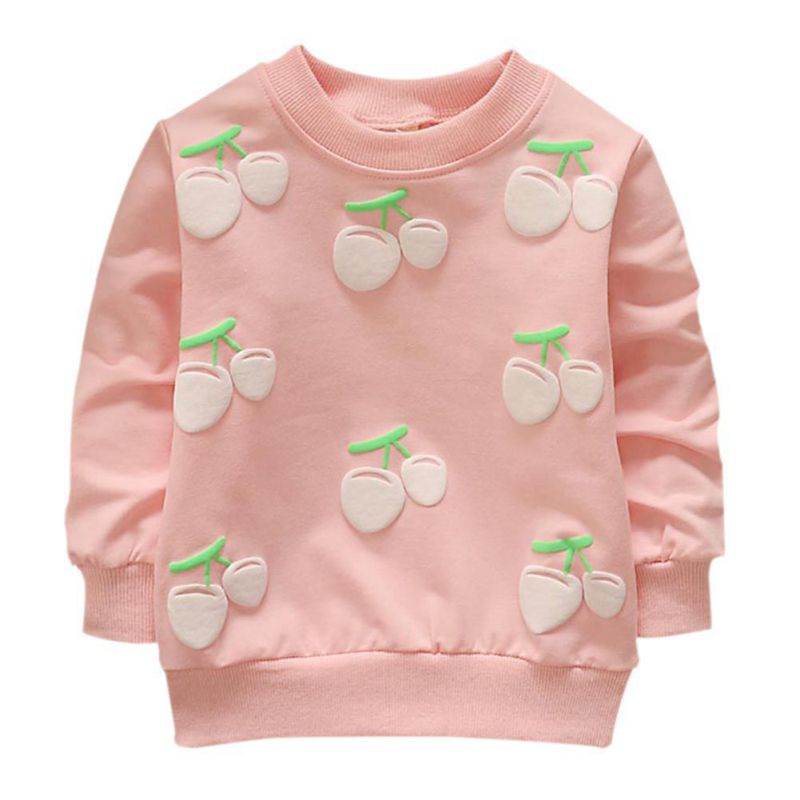 2019 New Baby Cotton Tops  Autumn Winter Small Children Round Necked Strawberry Hedging Kids Long Sleeves Hot Sale