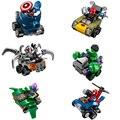 6Pcs Funny cartoon Marvel super heroes Bumper car building block Captain America spiderman Figures