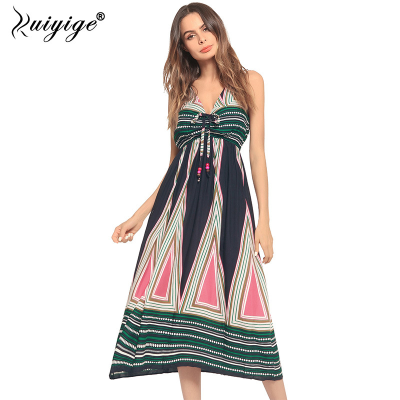Ruiyige Sexy Deep V Bohemian Dress Floral Print Party Spaghetti Strap Dresses Women Summer Bench Ankle Length Vestidos Female