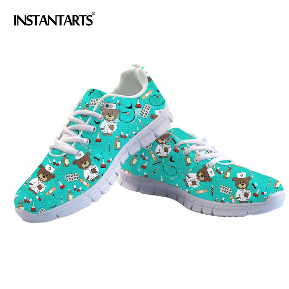 554bc564a5e US $28.49 43% OFF|INSTANTARTS Cartoon Nurse Sneakers Cute Women Pediatrics  Bear Print Running Shoes Light Breathable Lace Up Ladies Sports Shoes-in ...