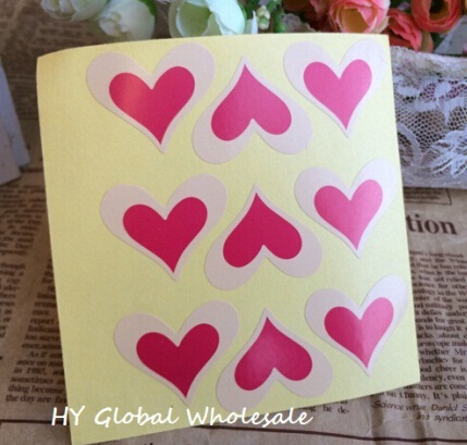 90PCS/Lot Red Romatic Heart  shape Kraft paper  seal Sticker for Handmade Products New Year Gift package label