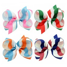 4 inch rainbow gradient ribbed with childrens bow hairpin hair accessories birthday gift