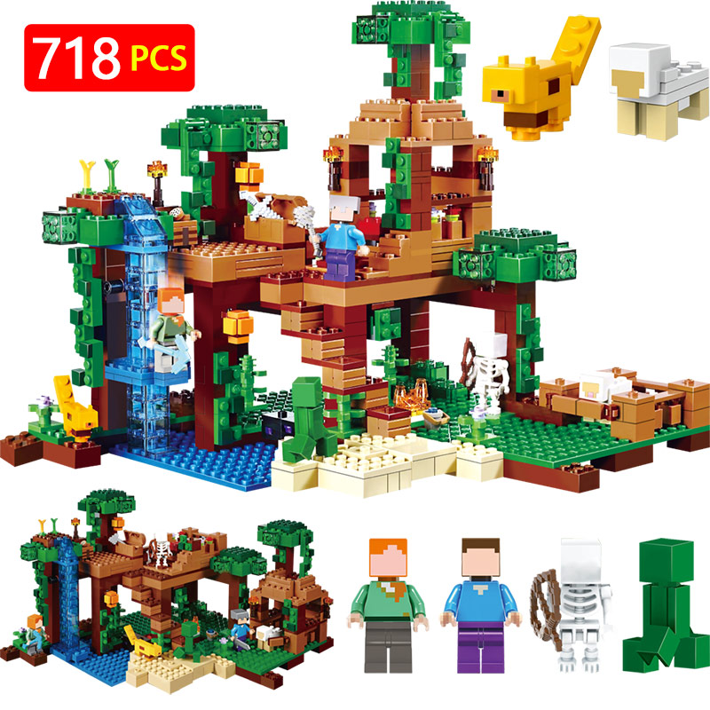 21138 Technic Building Blocks Compatible LegoINGLYS Minecrafter The Jungle Tree House Eductional Kit Children Toys lepin 18003 my world series the jungle tree house model building blocks set compatible original 21125 mini toys for children