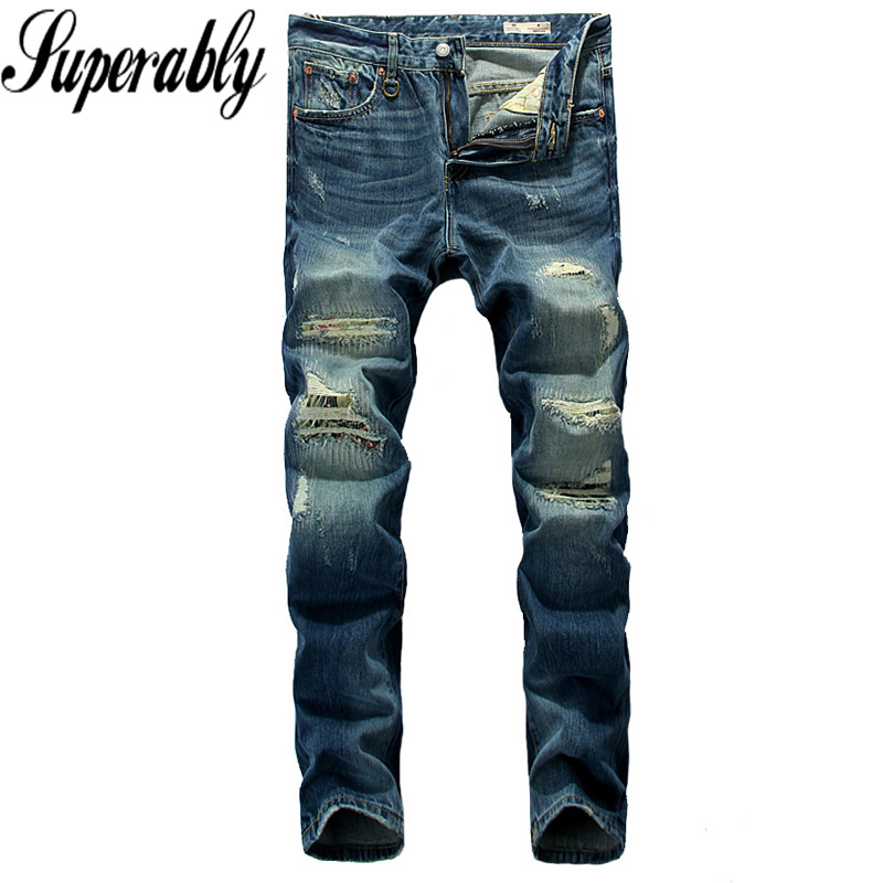 Blue Color Denim Fashion Men Jeans Superably Brand Destroyed Ripped Jeans Mens Pants High Quality Straight Stripe Jeans Trousers 2017 slim fit jeans men new famous brand superably jeans ripped denim trousers high quality mens jeans with logo ue237