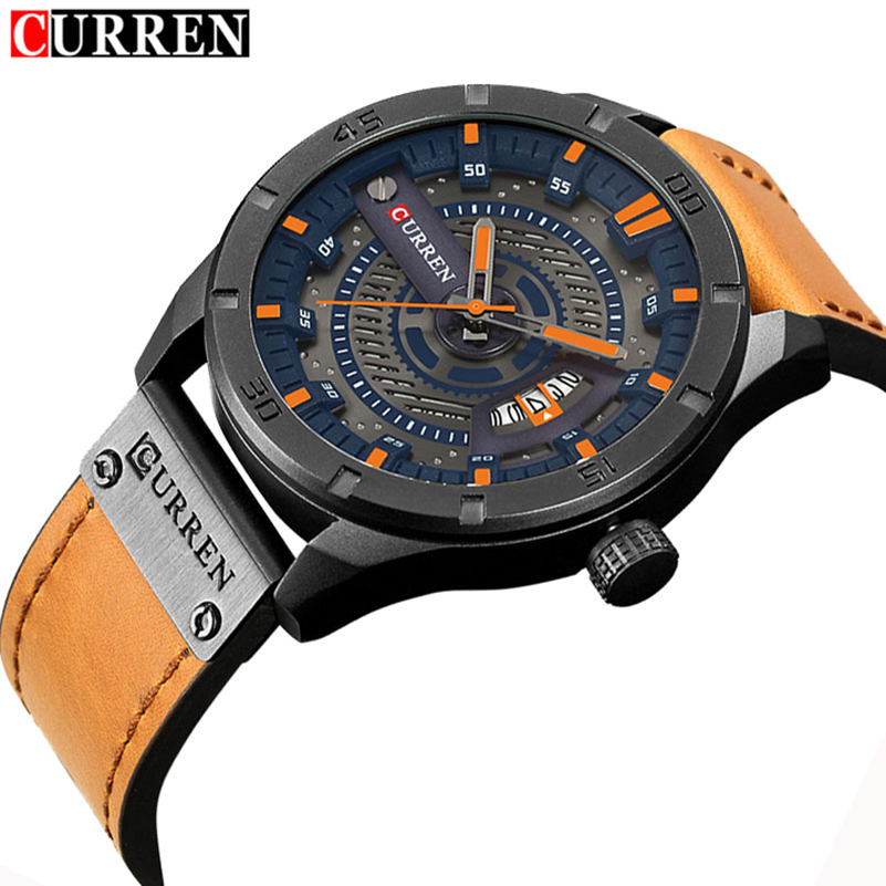 CURREN Date Men Watch Top Luxury Brand Sport Military Army Business Male Clock Leather Quartz Wrist Mens Watches Drop shipping genuine curren brand design leather military men cool fashion clock sport male gift wrist quartz business water resistant watch