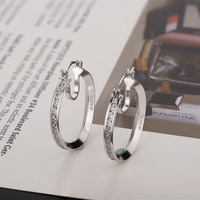 ILJEW 925 silver Round Big Circle Earring 925 Sterling Silver Women Engagement Hoop Earrings pendientes plata de ley 925 mujer