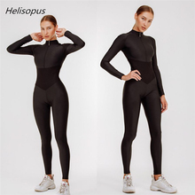 Helisopus 2020 Spring New Sporting Fitness Women Jumpsuit Solid Full Sleeve Zipp