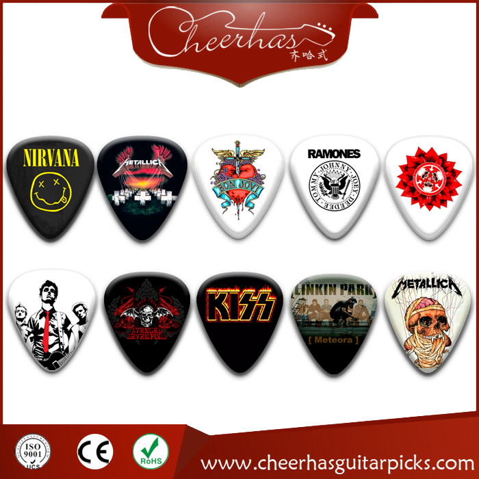 Mixed 10 designs US hot band metallica logo guitar pick plectrum with 0.71mm thickness double sides printing
