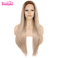 Imstyle Long Straight Blonde Ombre Wigs Synthetic Lace Front Wig For Women High Temperature Fiber Glueless Wig Natural Hair Wig