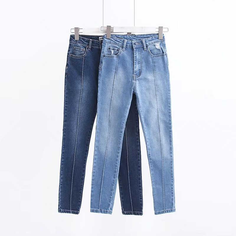 נשים חדשות פנטגרם מותן רזה נשים אחוי בציר ג 'ינס דקים קיץ Capris מכנסיים עיפרון נשים Mujer WF121