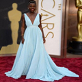 El envío Libre Una Línea de Cuello En V Profundo V Volver Lupita Nyong'o Light Blue Celebrity Dress Oscars Red Carpet Vestidos Para Prom