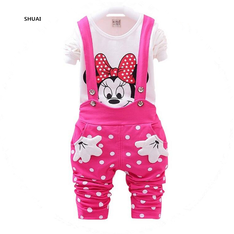 CNJiaYun Minnie Baby Girls Clothing Sets Spring Cotton Children's Set Pakaian baju Suspenders baju 2 keping Pakaian Pakaian Anak