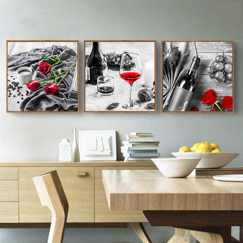 Red Wine Cup Rose Picture Home Decor Wall Art Nordic Canvas Painting Minimalist Art Print and Poster for Restaurant Living Room