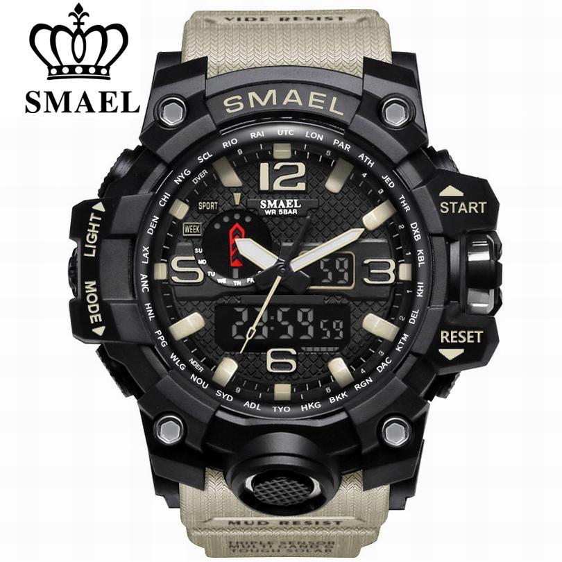 SMAEL – montre-bracelet analogique à Quartz pour hommes, accessoire de mode, étanche, de sport, style militaire, de luxe, à double affichage, 1545