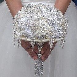 Новый Романтический роскошный свадебный букет Полный Кристалл Свадебный букет свадебные цветы Брошь букеты De Noiva на заказ