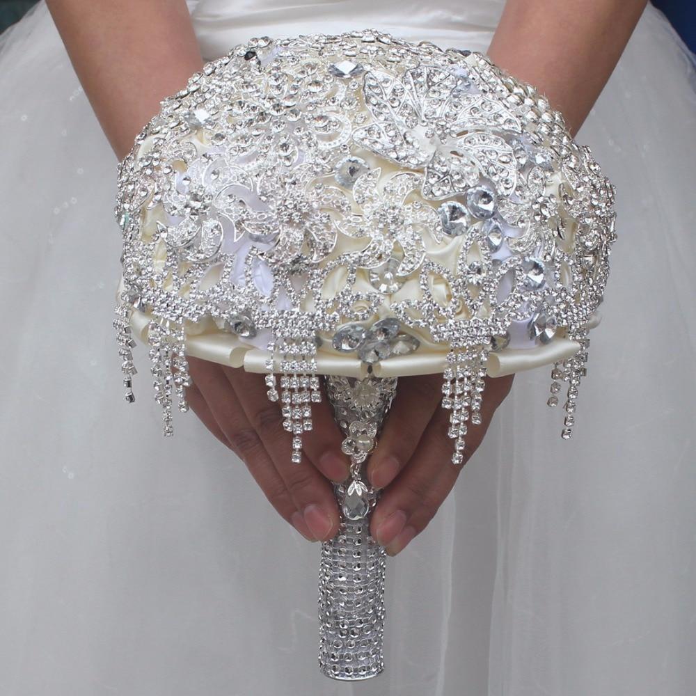 New Romantic Luxury Wedding Bouquet Full Crystal Bridal Bouquet Wedding Holding Flowers Brooch Bouquets De Noiva Custom Made