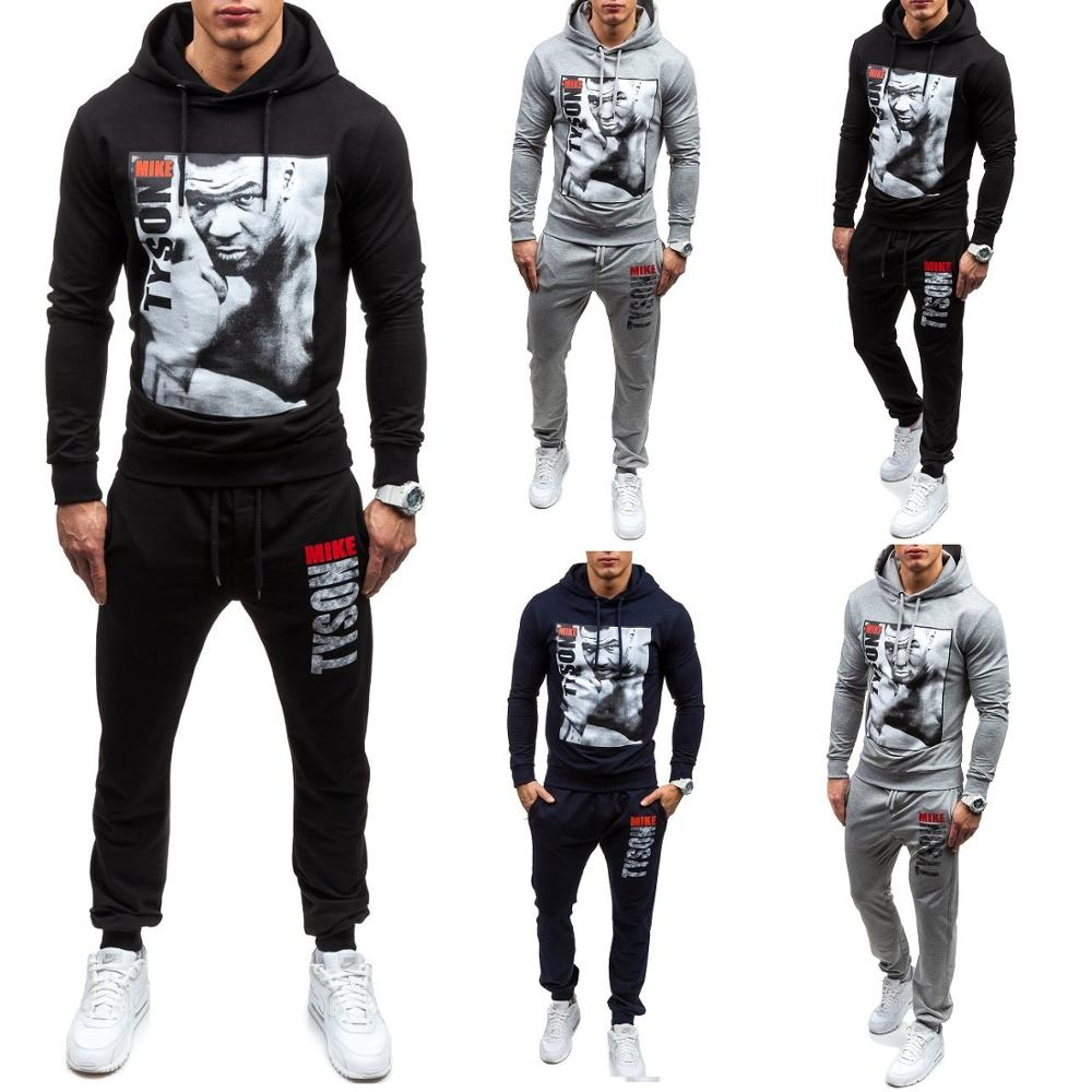 ZOGAA 2019 New European And American Men's Men's Sweater Suit Youth Casual Sports Hooded Printed Sweater Men's Suit