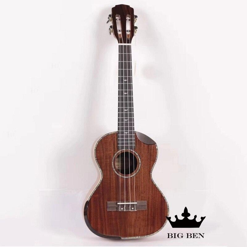 26 pouces Koa tout bois massif petite guitare 26 pouces haut rigide ukulélé bovin os écrou Acacia Ukelele palissandre touche unisexe
