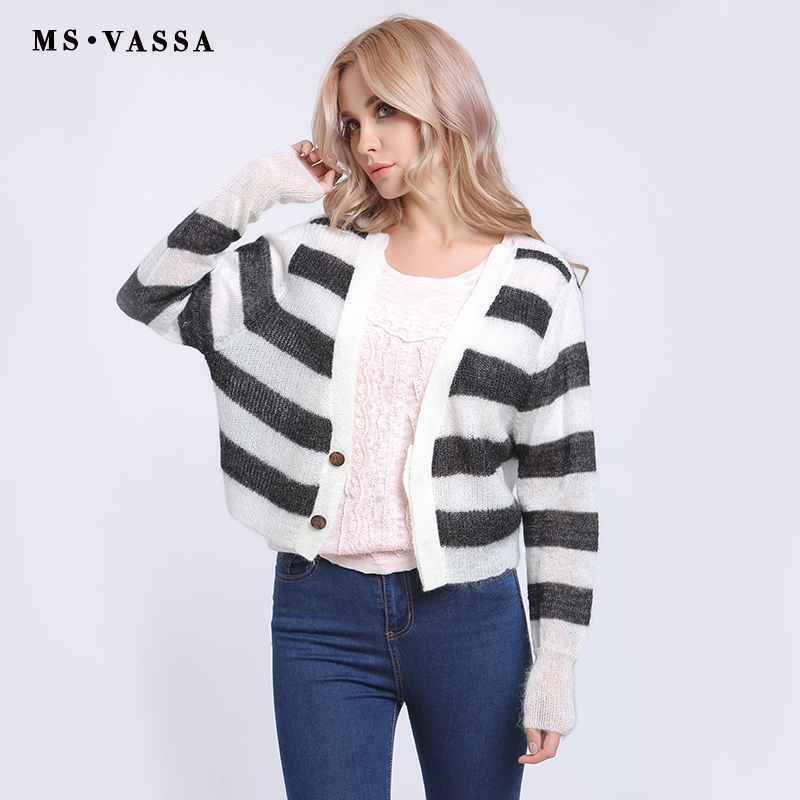 MS VASSA Clearance Sale Women Cardigan Winter Autumn Ladies Sweaters V-neck casual Open Stitch Female oversized outerwear