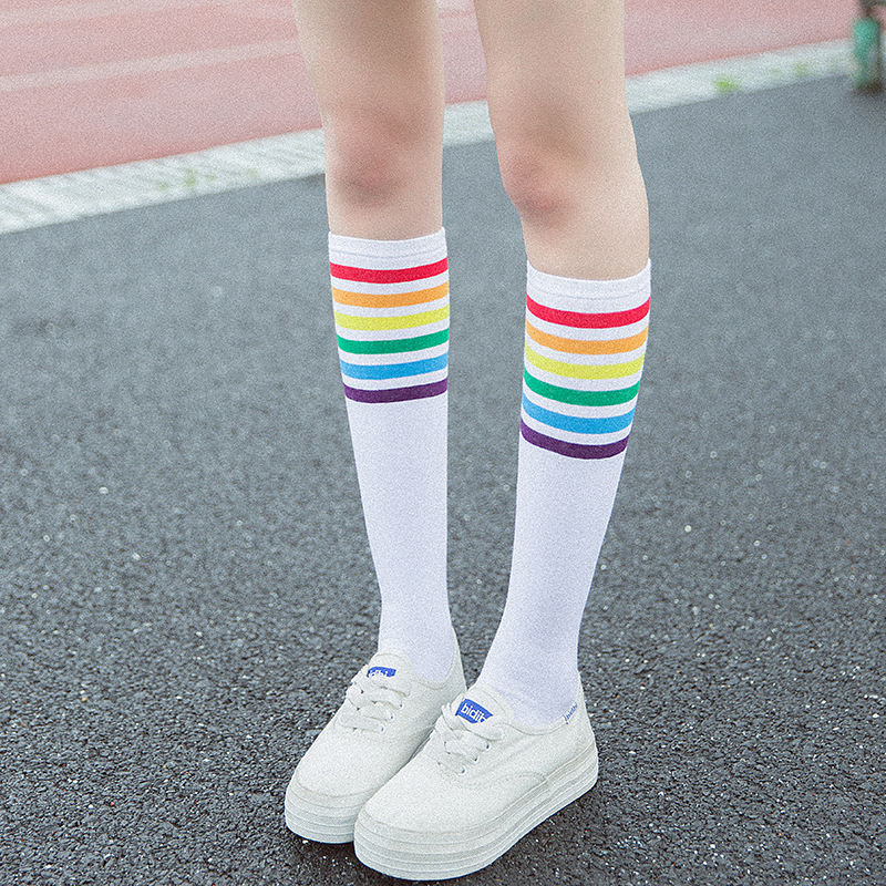 1pair women stockings knee high socks autumn winter cotton rainbow colorful white black  ...