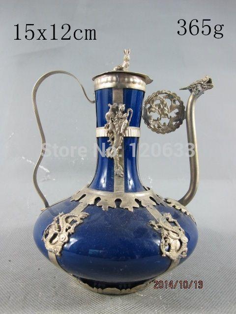Тибетский мяо серебра ручной Тибет серебряный дракон искусства синий фарфоровый чайник антикварные украшения сада 100% Настоящее Тибетский ...