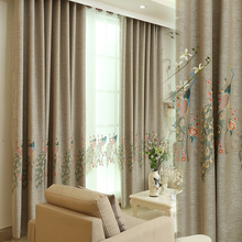 2016 Custom Made Brand New Shading Cotton Luxury Linen Peacock Embroidery Blackout Curtain for Living Room