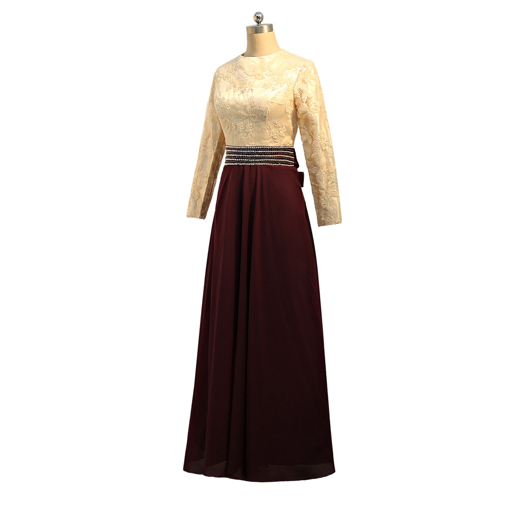 Vestidos de Noche musulmanes morados 2019 A line de manga larga de gasa lentejuelas cuenta islámica Dubai Kaftan saudí árabe vestido de noche largo - 5