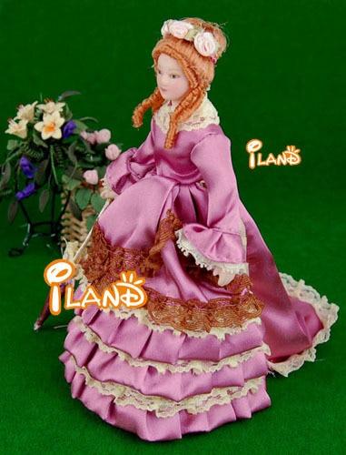 Porcelain Doll Model 1:12 Dollhouse Miniature Purple Skirt Lady #PP007G