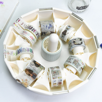 1 Pcs Set New Transparent Adhesive Tape Dispenser Tape Storage Box Office Desktop Washi Tape Holder