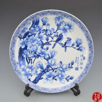 Rare old Chinese porcelain plate,white and blue,flower and bird, Decoration /Collection/ crafts,Free shipping