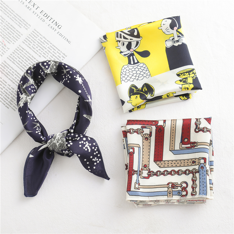 50*50 CM Small Square Silk Scarf For Women Business Neck Head Scarfs Ladies Foulard Hair Band Tie Female Print Handkerchief