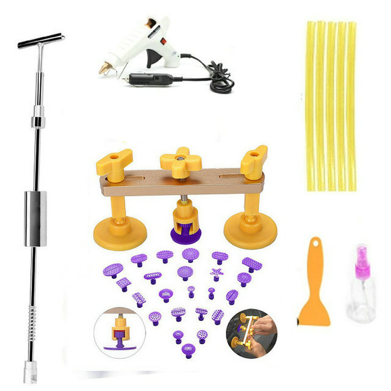 2 in One Slide Hammer Dent Puller Kit Newest Bridge Dent Puller  Lifter PDR Paintless Dent Removal Tools 24 PDR Pulling Tabs pdr dent puller tabs sucker suction cup tools paintless repair tools for dent removal hand tools ferramentas dent lifter bridge