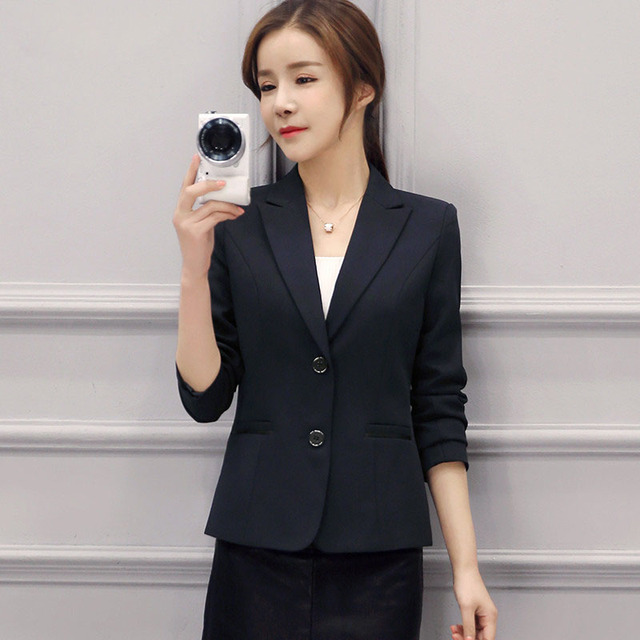 f4e2bcae3af80 S-4Xl Plus Size Elegant Women Blazer Suit And Jackets Navy Blue Single  Breasted Ol Style Female Office Coats And Suits Ma094