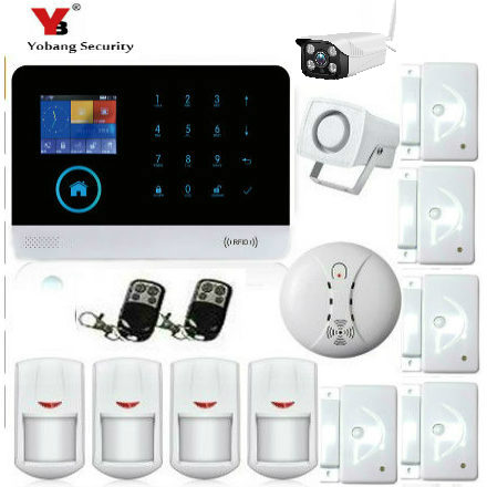 YoBang Security Wireless WIFI GSM GPRS Home Office Security System WIFI Outdoor IP Camera Alarm Smoke Detector IOS Android APP. yobang security android ios app alarms home security system wifi gsm smart home motion detector hd ip camera surveillance