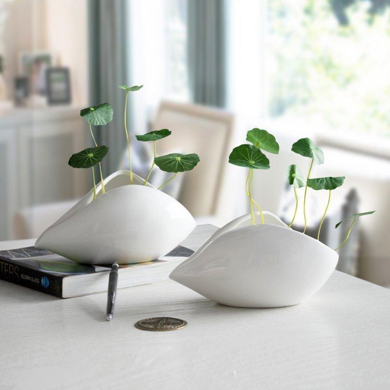 Seashell White Ceramic Vase Flower Pots Planters Home Desktop Decor