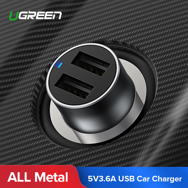Ugreen USB Carregador de Carro para Xiaomi Mini 3.6A Dupla Do Carro-Carregador Universal Rápido Carregador de Telefone Celular para o iphone X 7 8 6 s Carregador de Carro