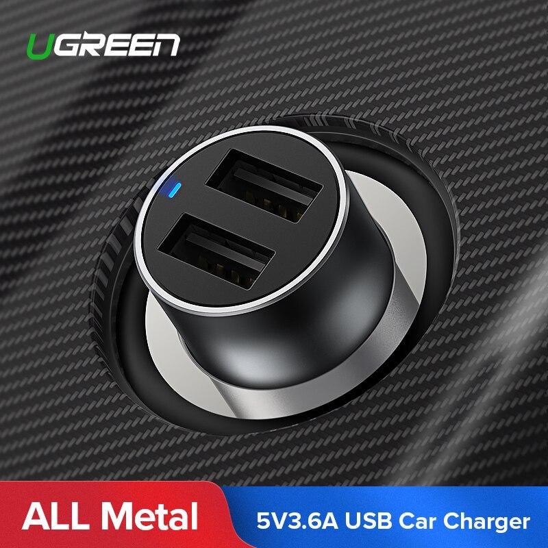 Ugreen USB Chargeur De Voiture pour Xiaomi Mini Double Voiture-Chargeur 3.6A Universel Rapide Mobile Téléphone Chargeur pour iPhone X 8 7 6 s Chargeur De Voiture