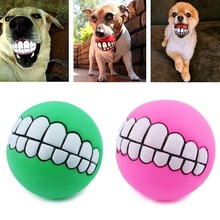 1pc Diameter 8cm Colorful Ball Dog Toy Soft Rubber Puppy Toys Sound Funny Tooth Chew Pet Supplies