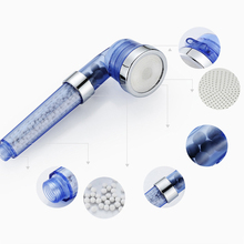 Shower Bath Head Adjustable 3 Mode High Pressure Stone Stream Handheld Shower Head With Negative Ion Activated Ceramic Balls
